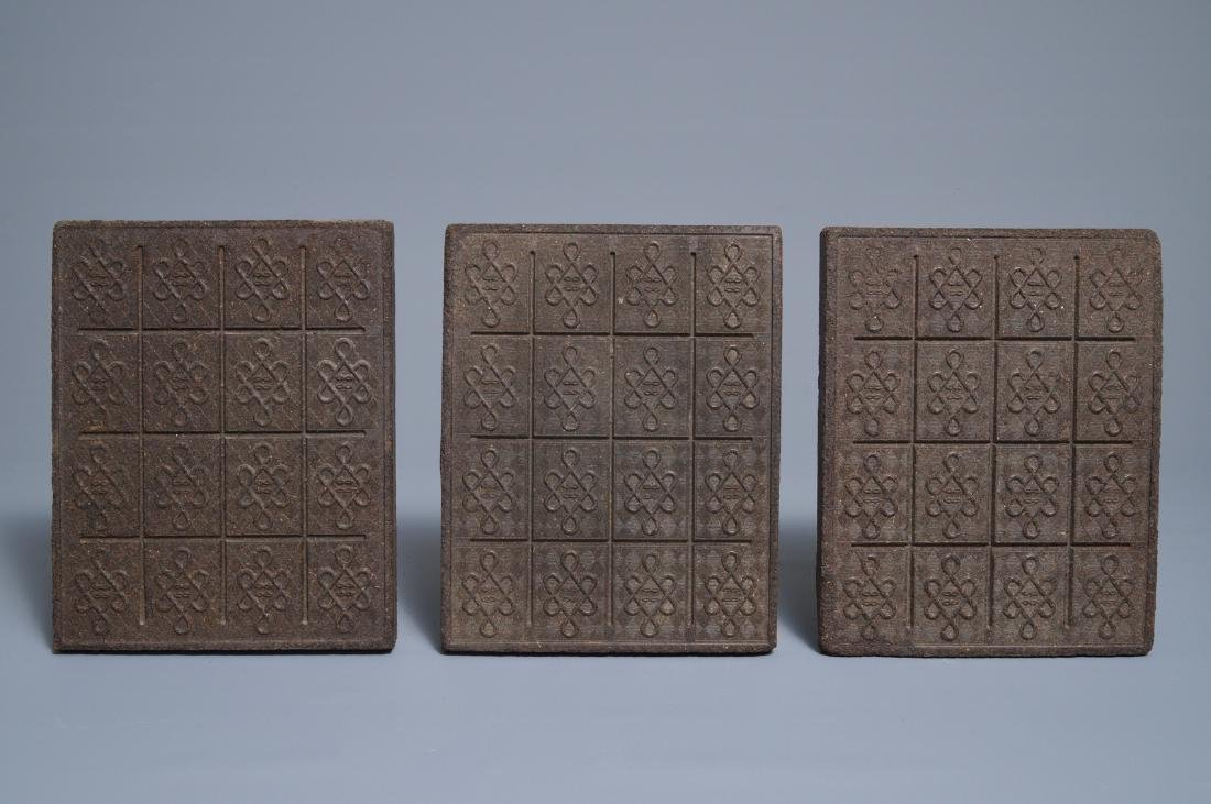 Three Chinese black tea bricks, Hubei, 20th C. - 2