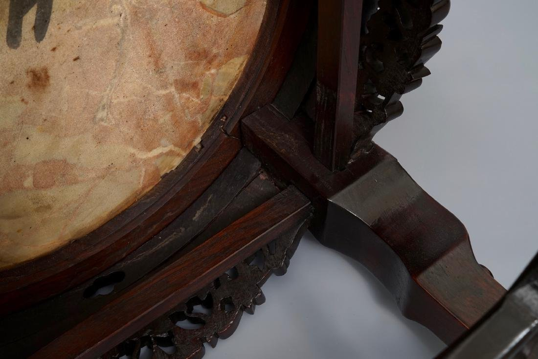 A Chinese wooden stand with marble top and mother of - 10