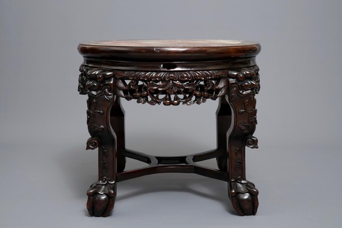 A Chinese wooden stand with marble top and mother of - 2