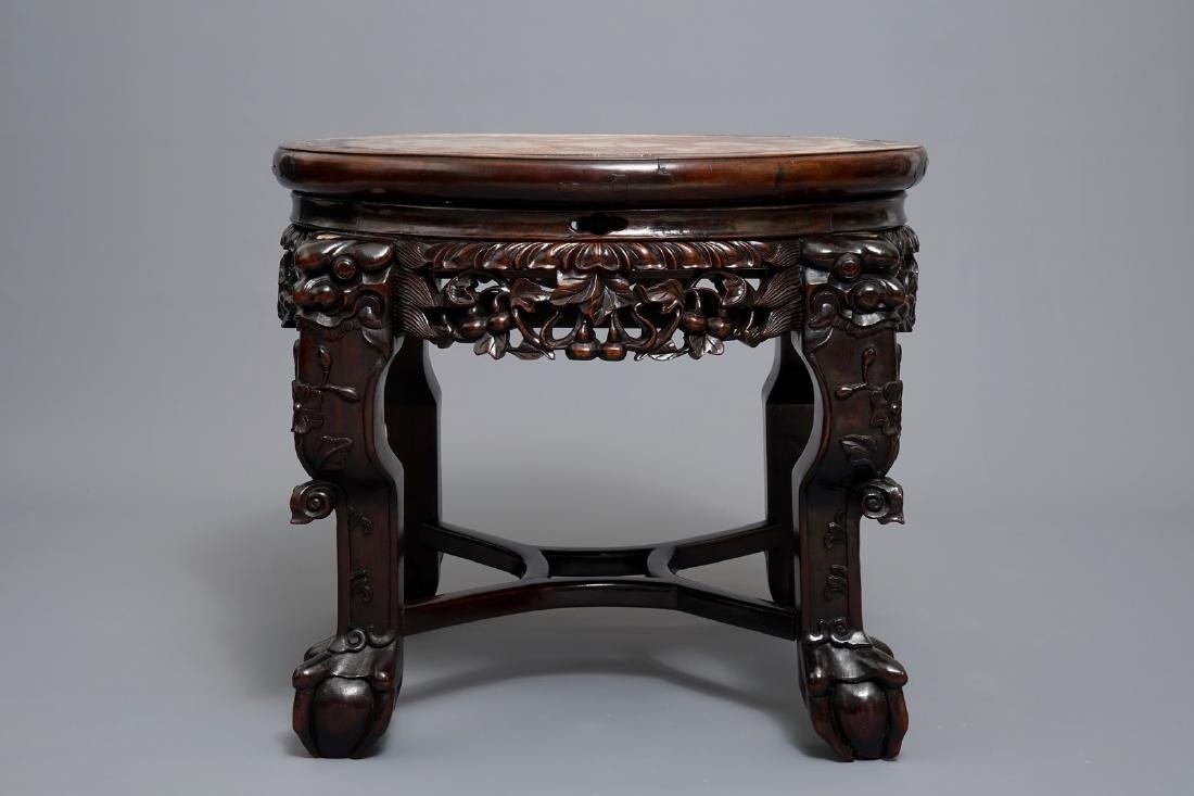 A Chinese wooden stand with marble top and mother of - 3