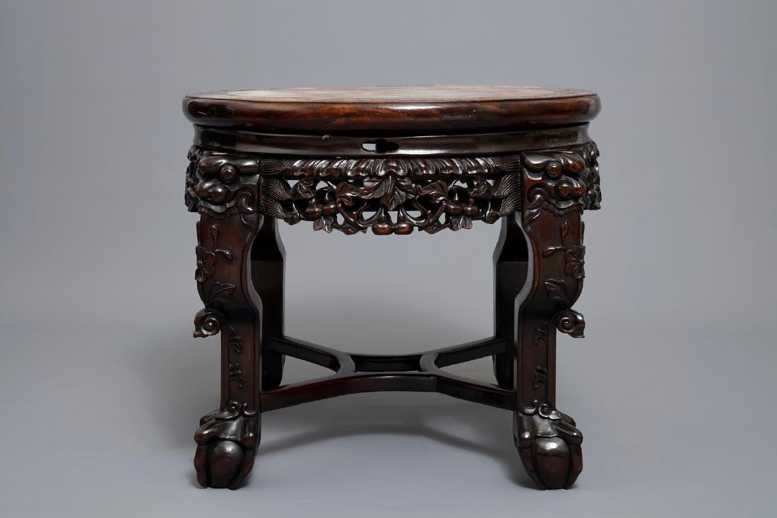 A Chinese wooden stand with marble top and mother of - 4