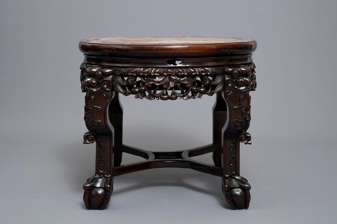 A Chinese wooden stand with marble top and mother of - 5