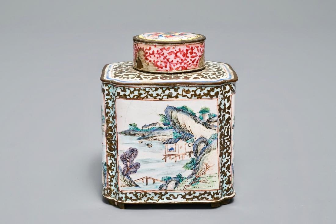 A Chinese Canton enamel tea caddy and cover, Qianlong