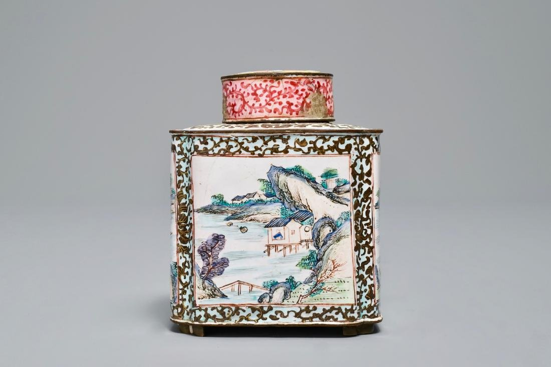 A Chinese Canton enamel tea caddy and cover, Qianlong - 2