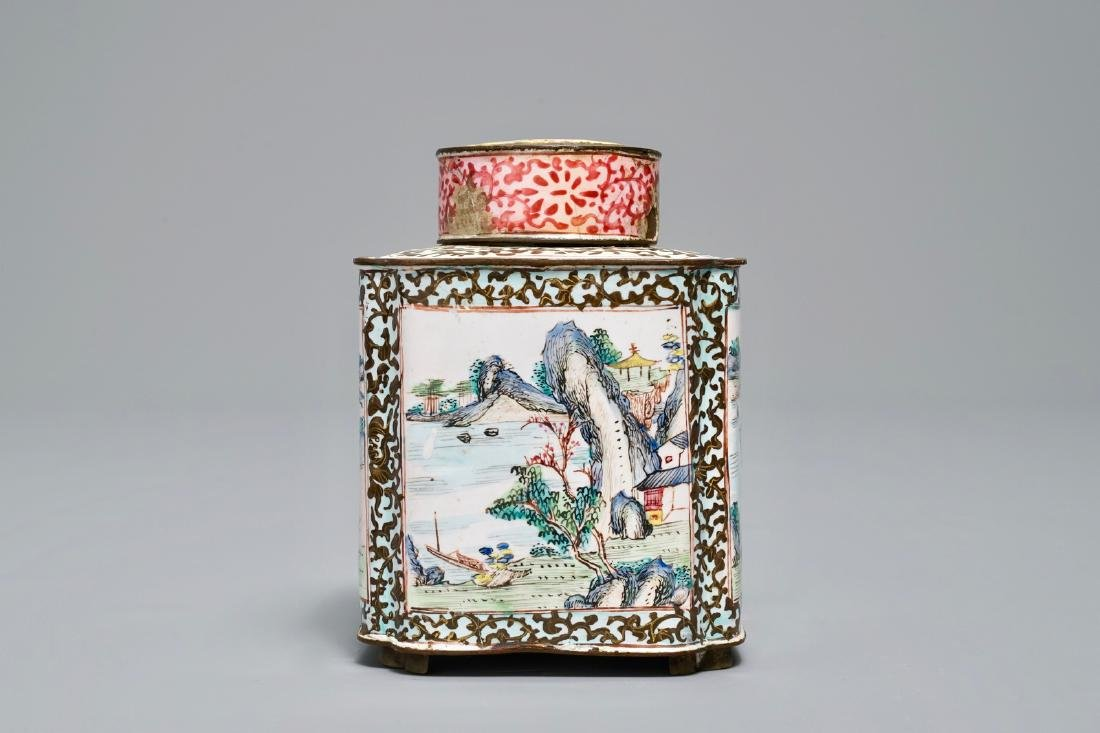 A Chinese Canton enamel tea caddy and cover, Qianlong - 3