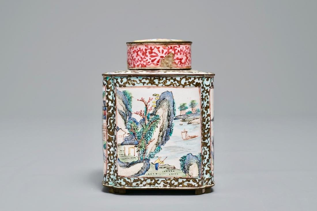 A Chinese Canton enamel tea caddy and cover, Qianlong - 5