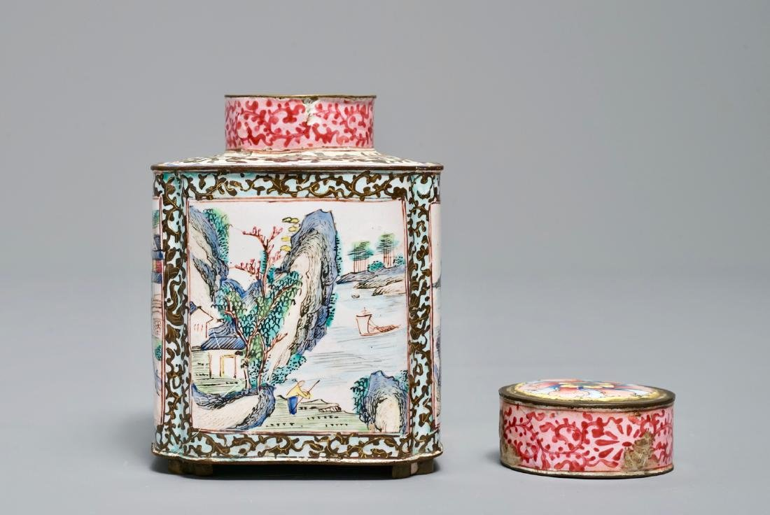 A Chinese Canton enamel tea caddy and cover, Qianlong - 6