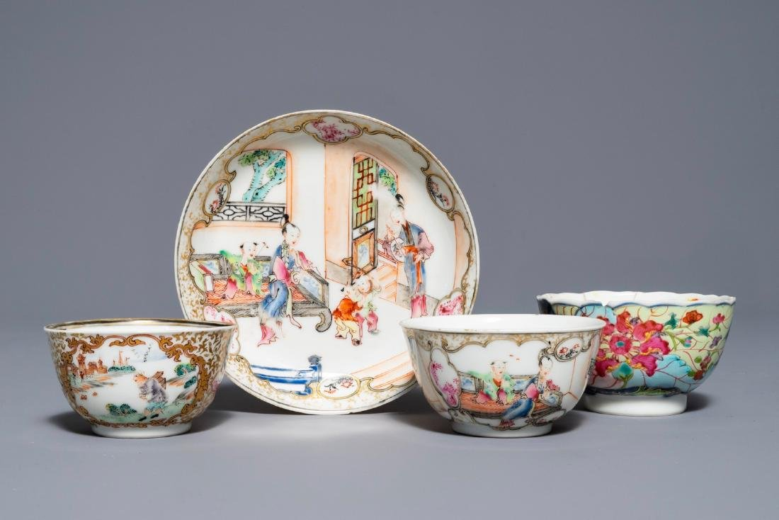 A Chinese famille rose 'Mandarin' cup and saucer and