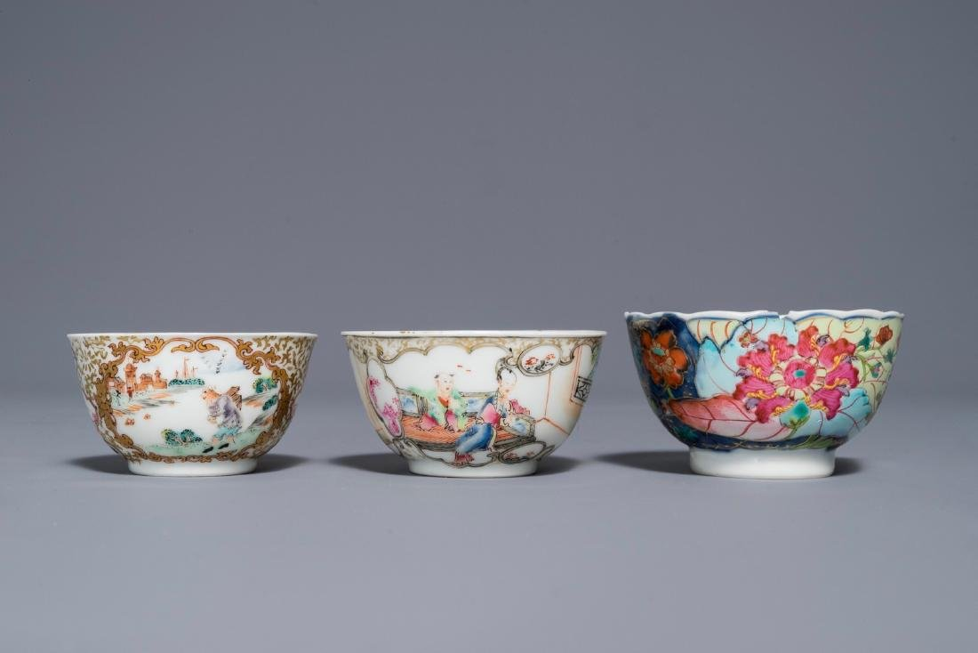 A Chinese famille rose 'Mandarin' cup and saucer and - 4