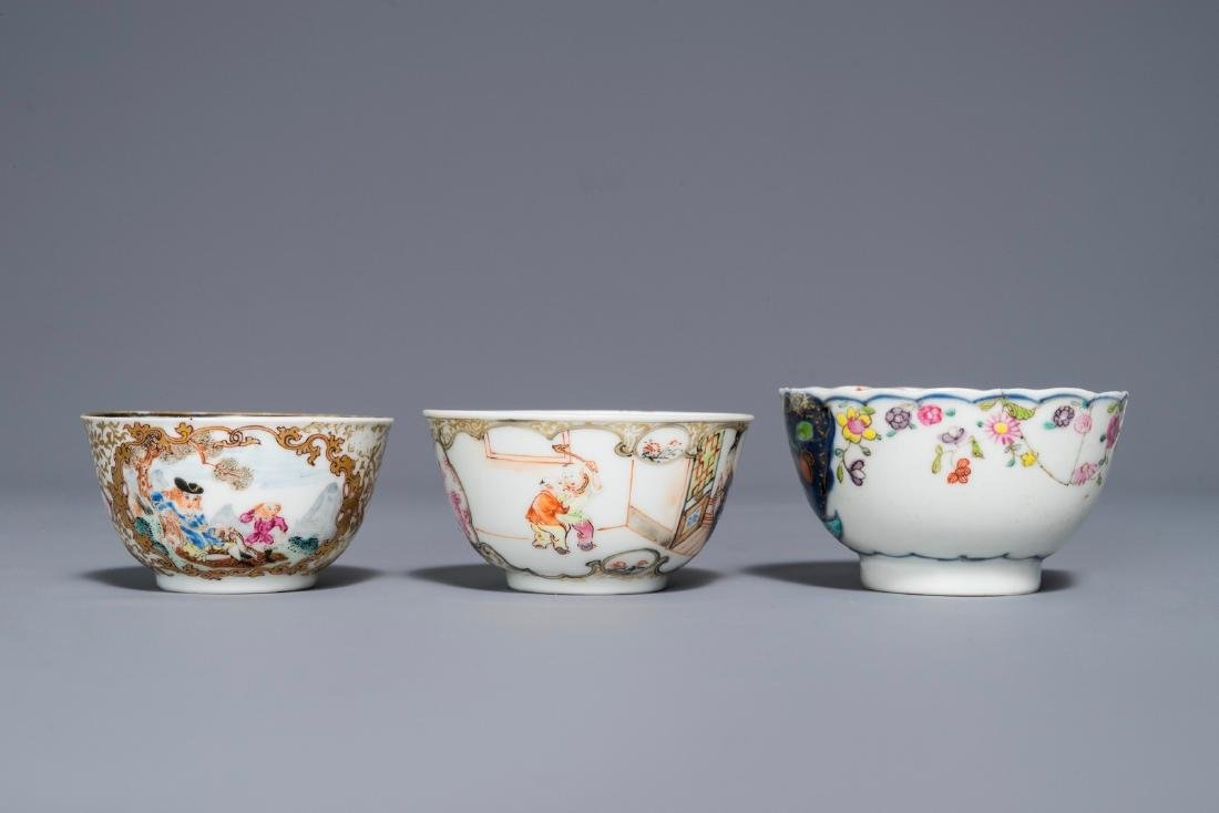 A Chinese famille rose 'Mandarin' cup and saucer and - 6