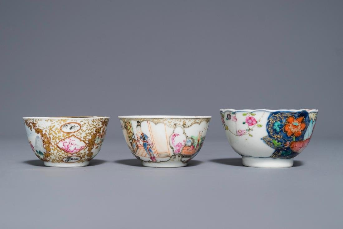 A Chinese famille rose 'Mandarin' cup and saucer and - 7