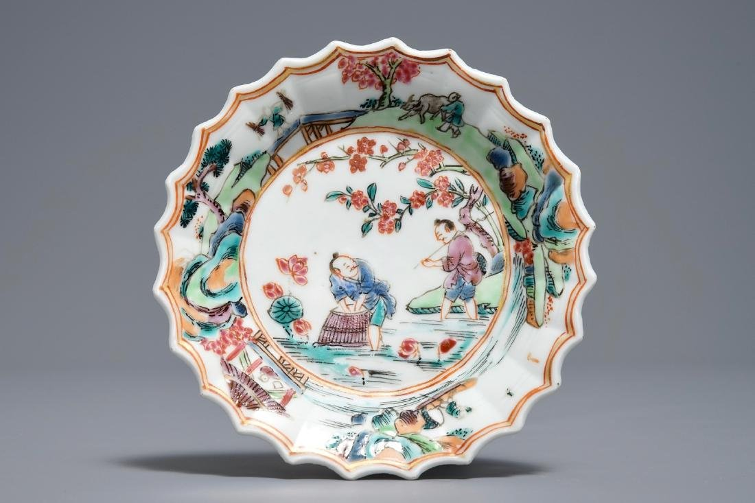 A Chinese famille rose cup and saucer with fishermen, - 2
