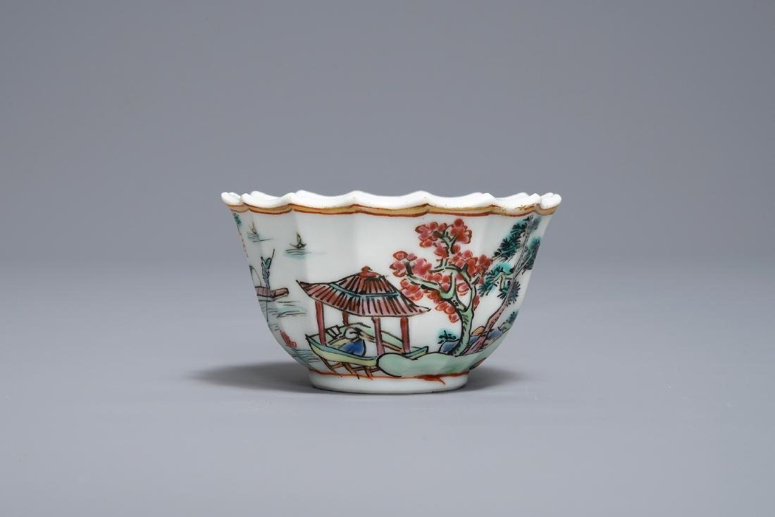 A Chinese famille rose cup and saucer with fishermen, - 6
