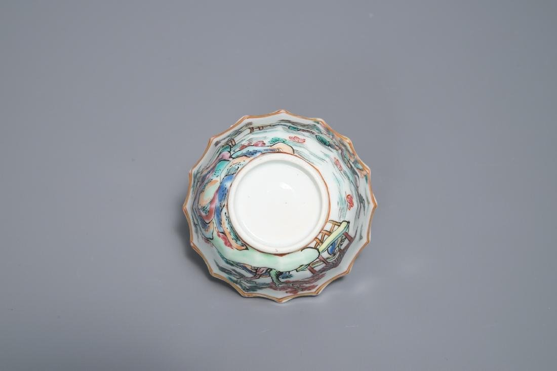 A Chinese famille rose cup and saucer with fishermen, - 9
