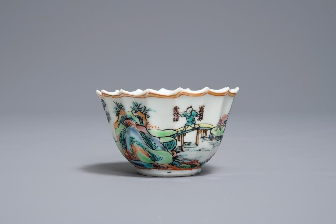 A Chinese famille rose cup and saucer with fishermen, - 4
