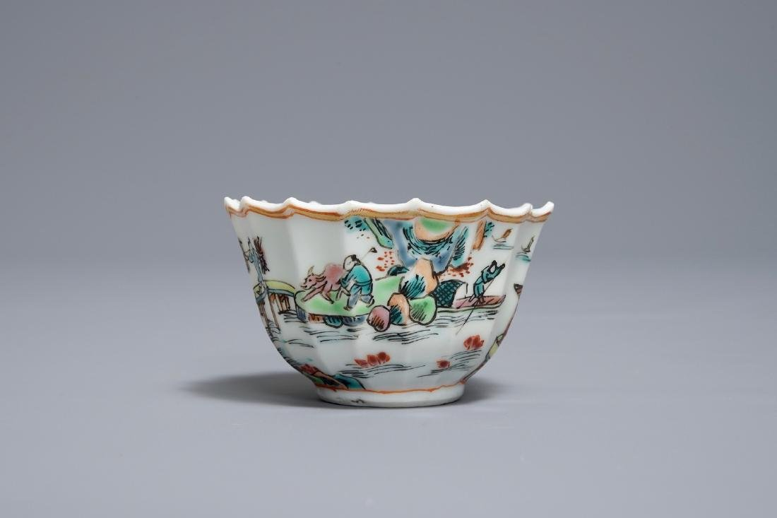 A Chinese famille rose cup and saucer with fishermen, - 5