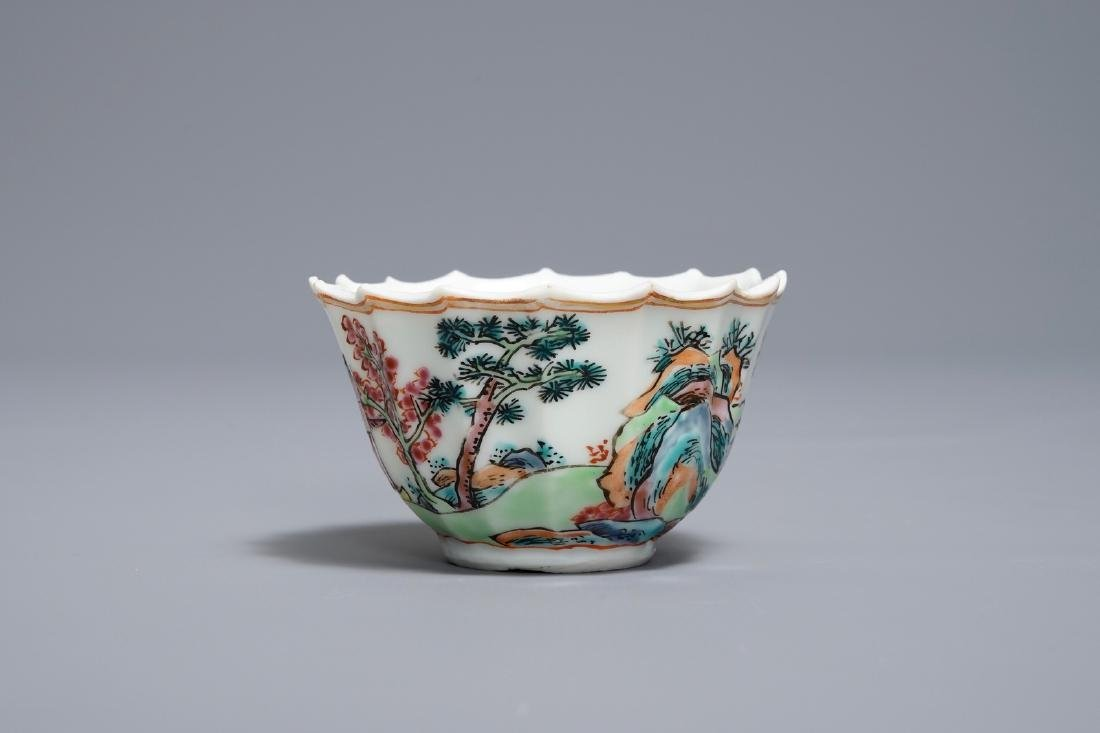 A Chinese famille rose cup and saucer with fishermen, - 7