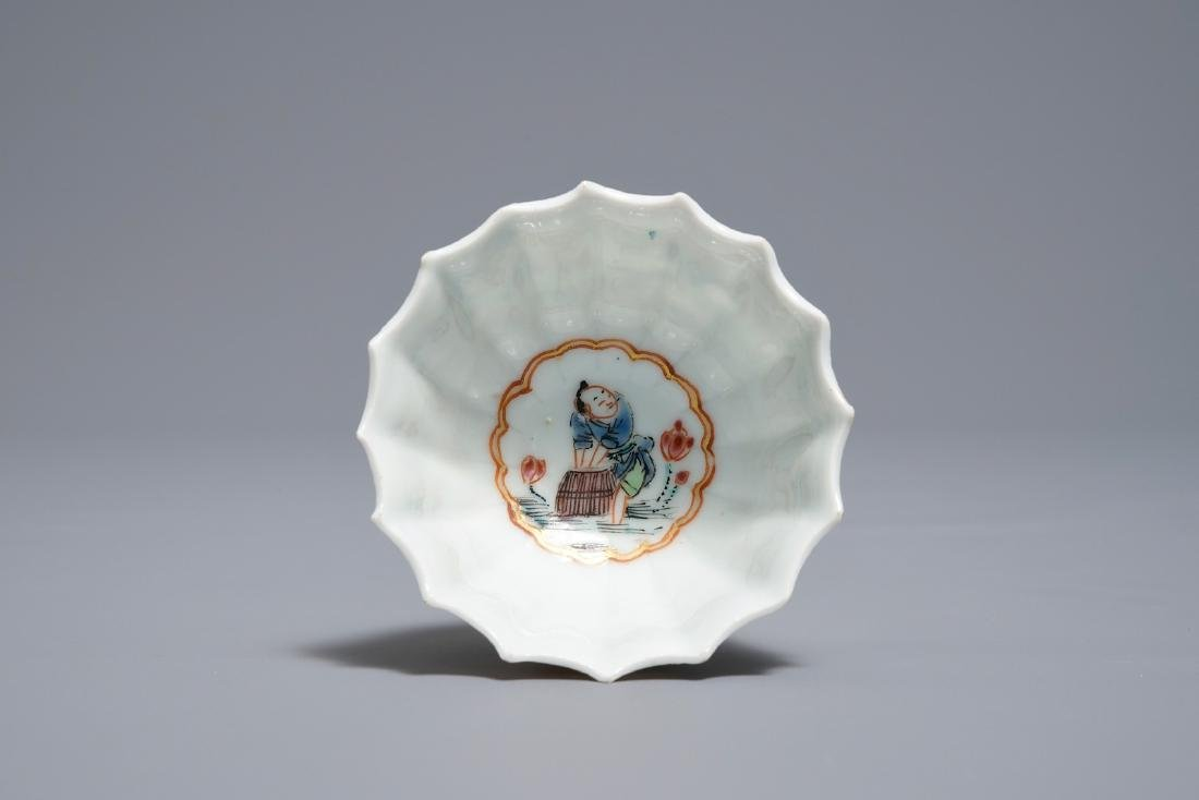 A Chinese famille rose cup and saucer with fishermen, - 8