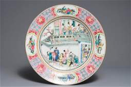 A massive Chinese famille rose 'horseriders' dish,