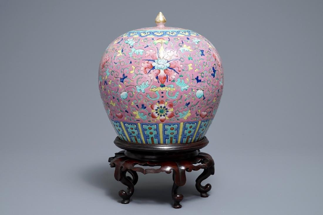 A Chinese famille rose jar and cover on wooden stand, - 2