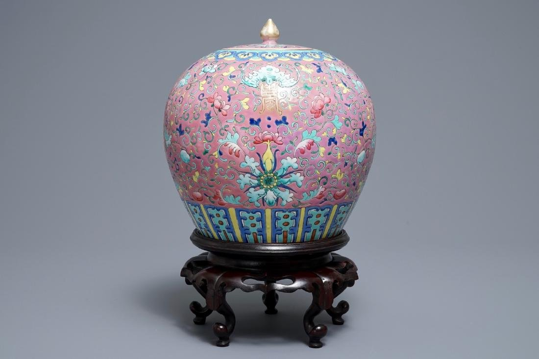 A Chinese famille rose jar and cover on wooden stand, - 3