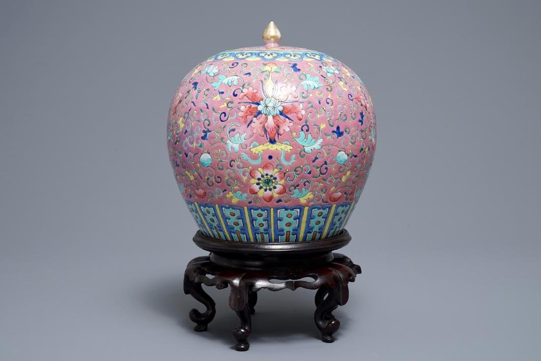 A Chinese famille rose jar and cover on wooden stand, - 4