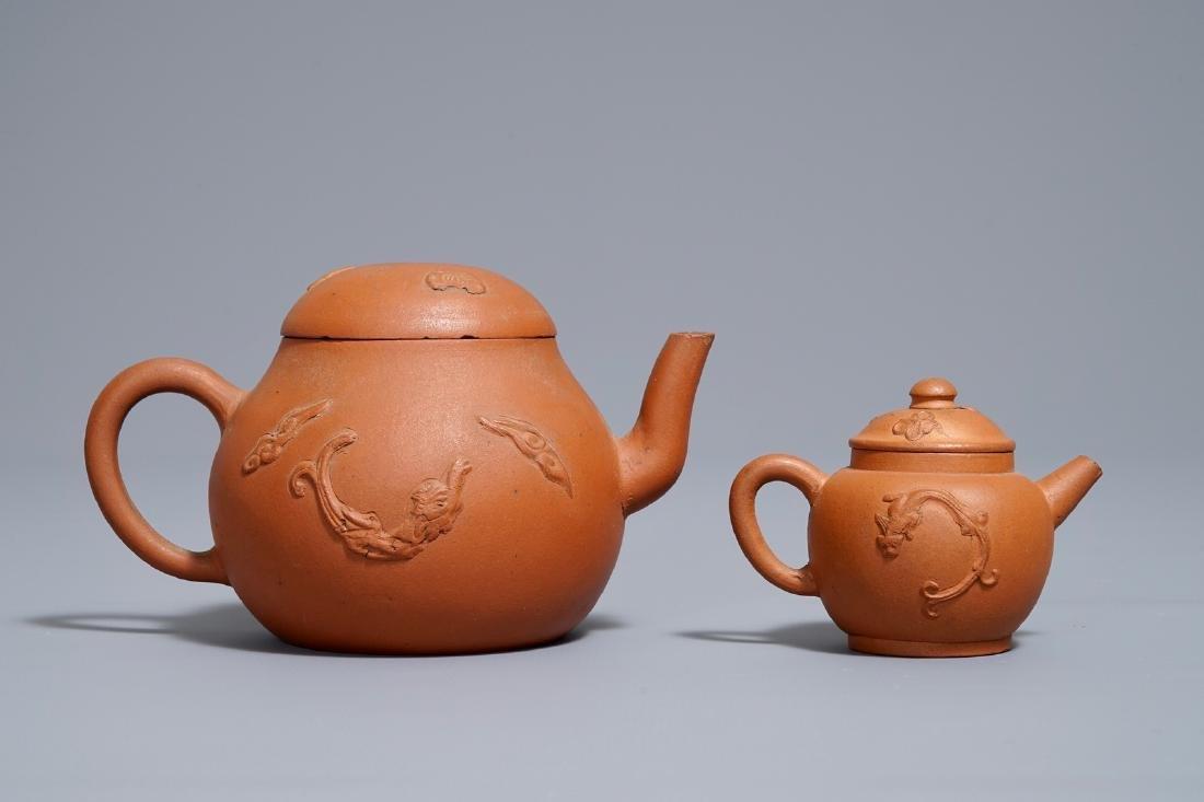 Two Chinese Yixing stoneware teapots, Kangxi - 4