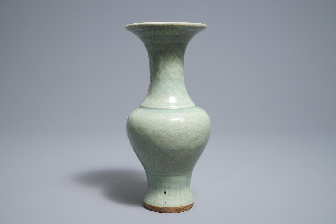 A Chinese Longquan celadon vase with incised design, - 4
