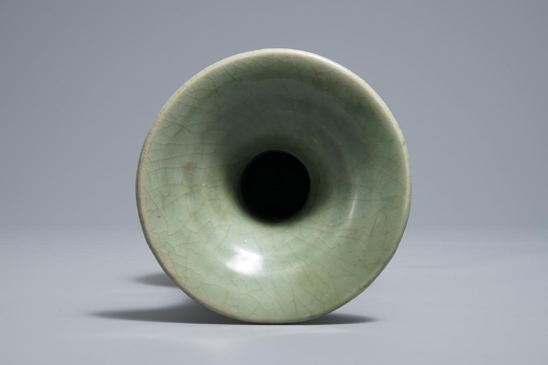 A Chinese Longquan celadon vase with incised design, - 5