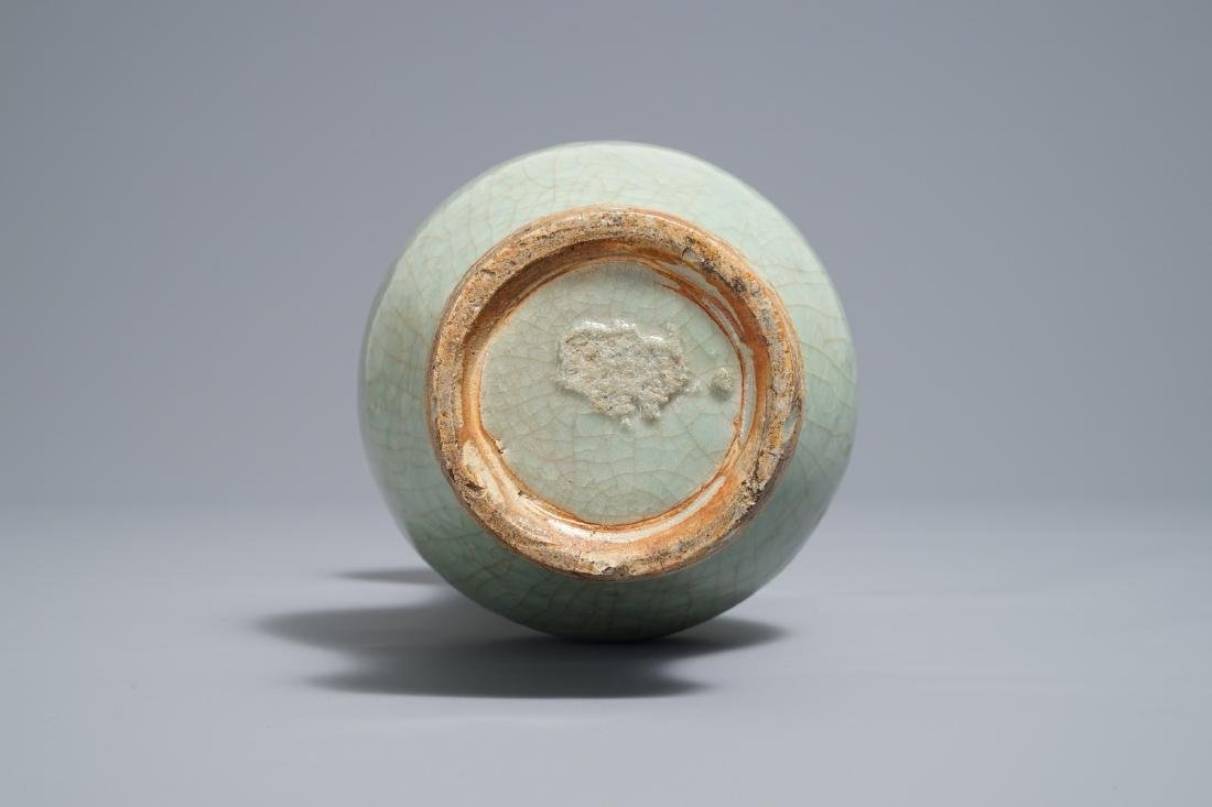 A Chinese Longquan celadon vase with incised design, - 6
