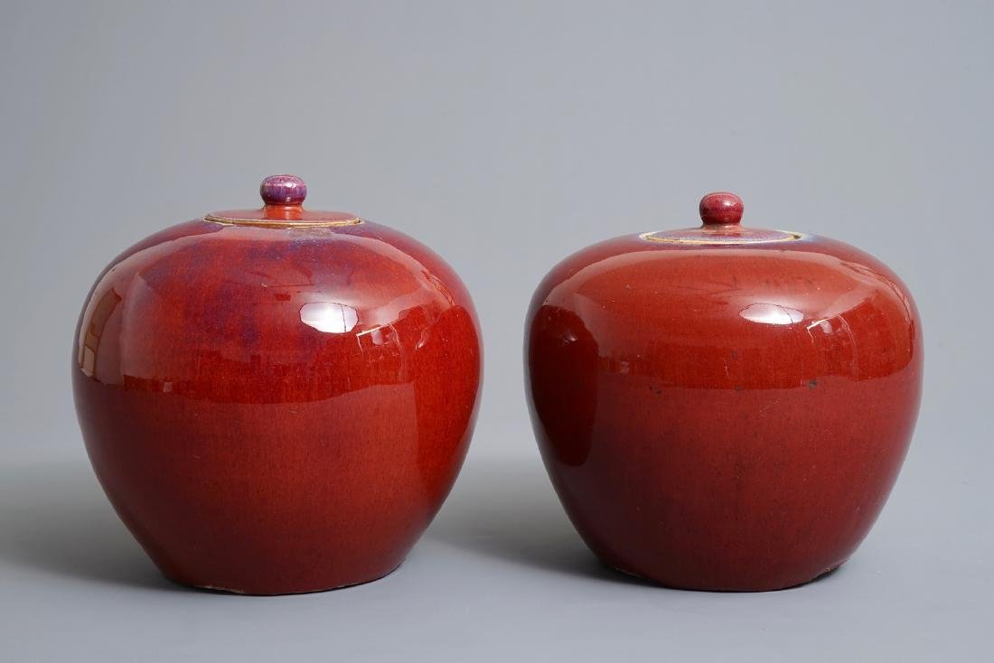 A pair of Chinese monochrome oxblood-glazed jars and - 4