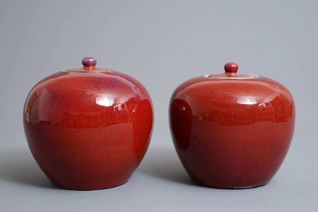 A pair of Chinese monochrome oxblood-glazed jars and - 5