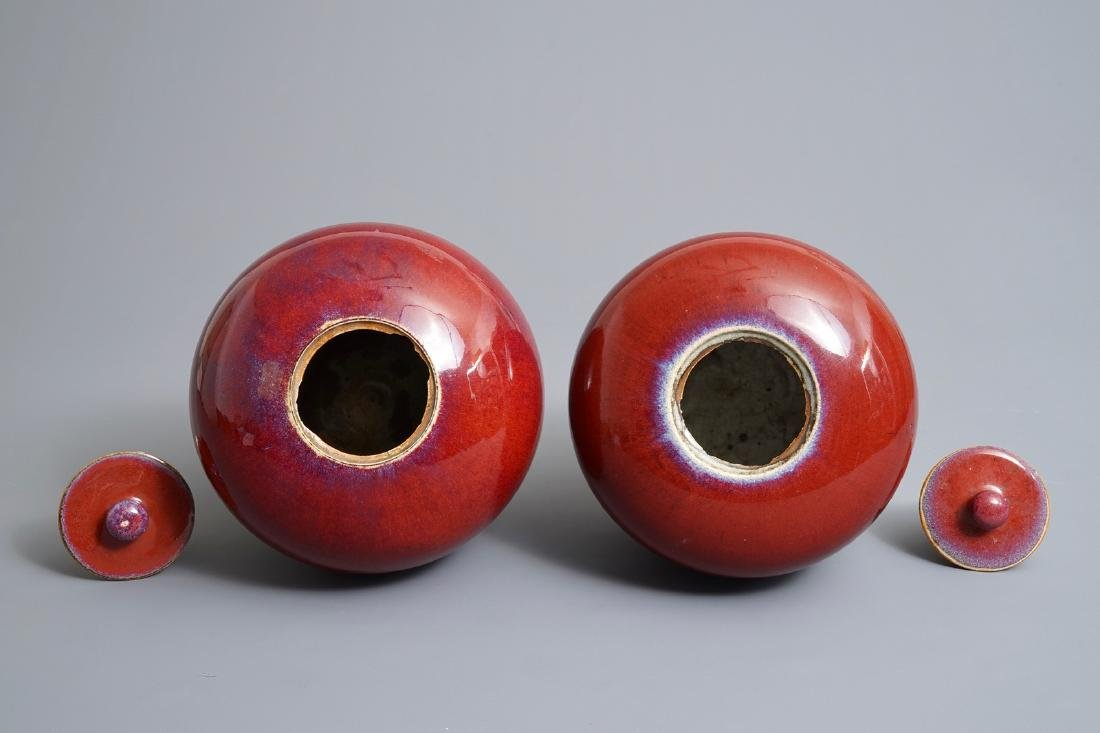 A pair of Chinese monochrome oxblood-glazed jars and - 6