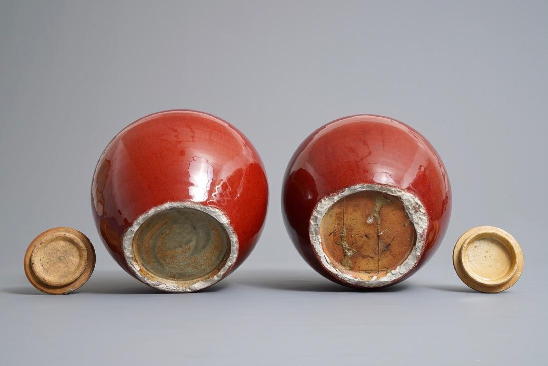 A pair of Chinese monochrome oxblood-glazed jars and - 7