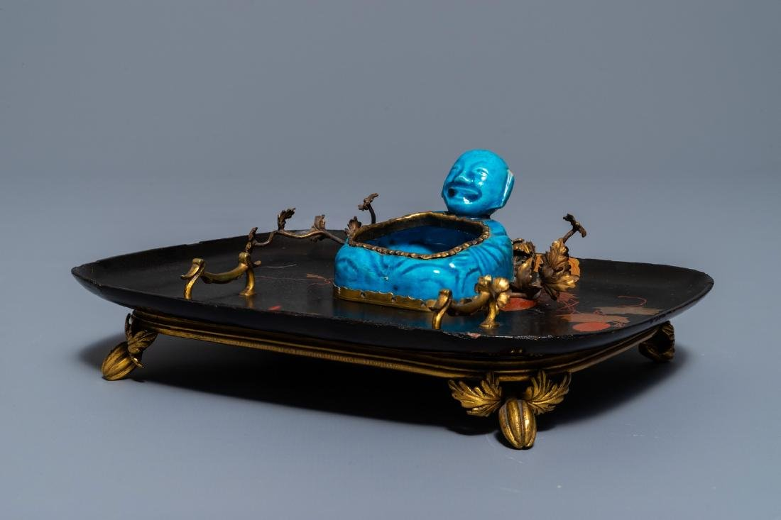 A French lacquer and gilt bronze inkwell with a Chinese