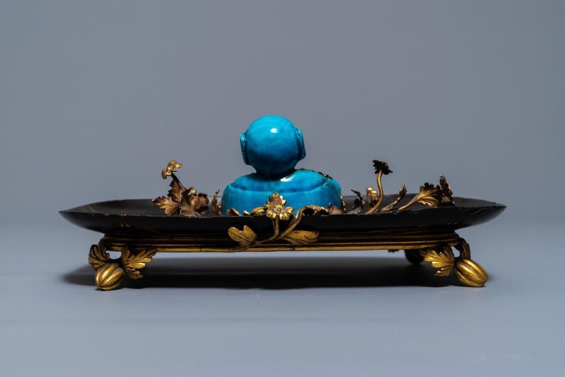 A French lacquer and gilt bronze inkwell with a Chinese - 5