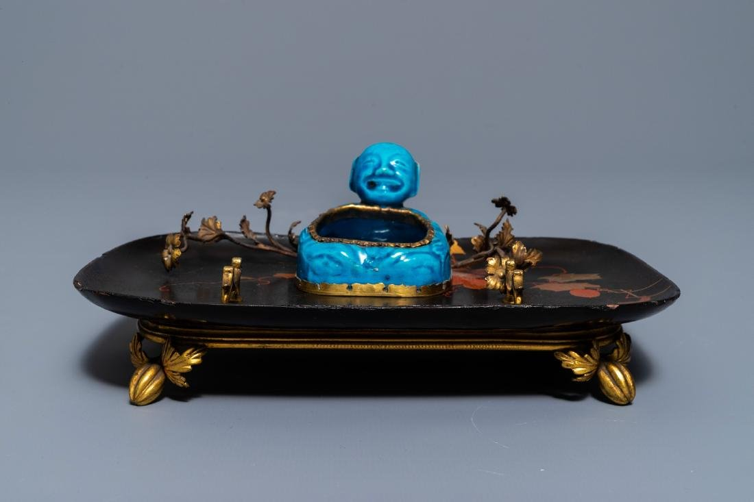 A French lacquer and gilt bronze inkwell with a Chinese - 7