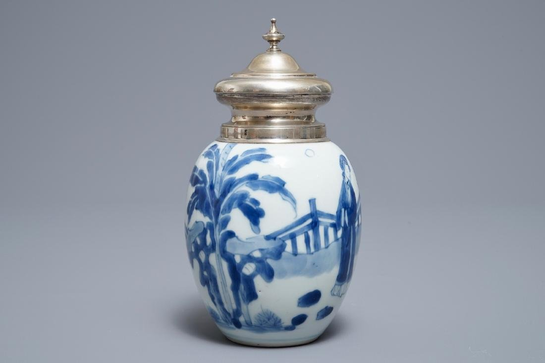 A Chinese blue and white silver-mounted tea caddy, - 2
