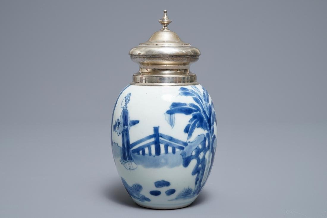A Chinese blue and white silver-mounted tea caddy, - 3