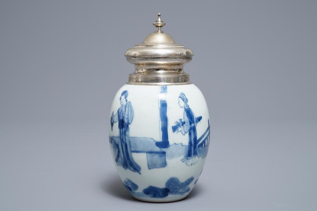 A Chinese blue and white silver-mounted tea caddy, - 4
