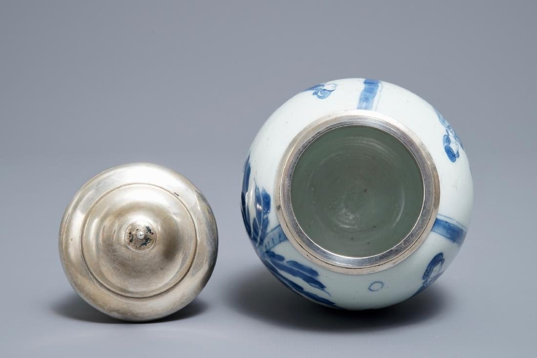 A Chinese blue and white silver-mounted tea caddy, - 5