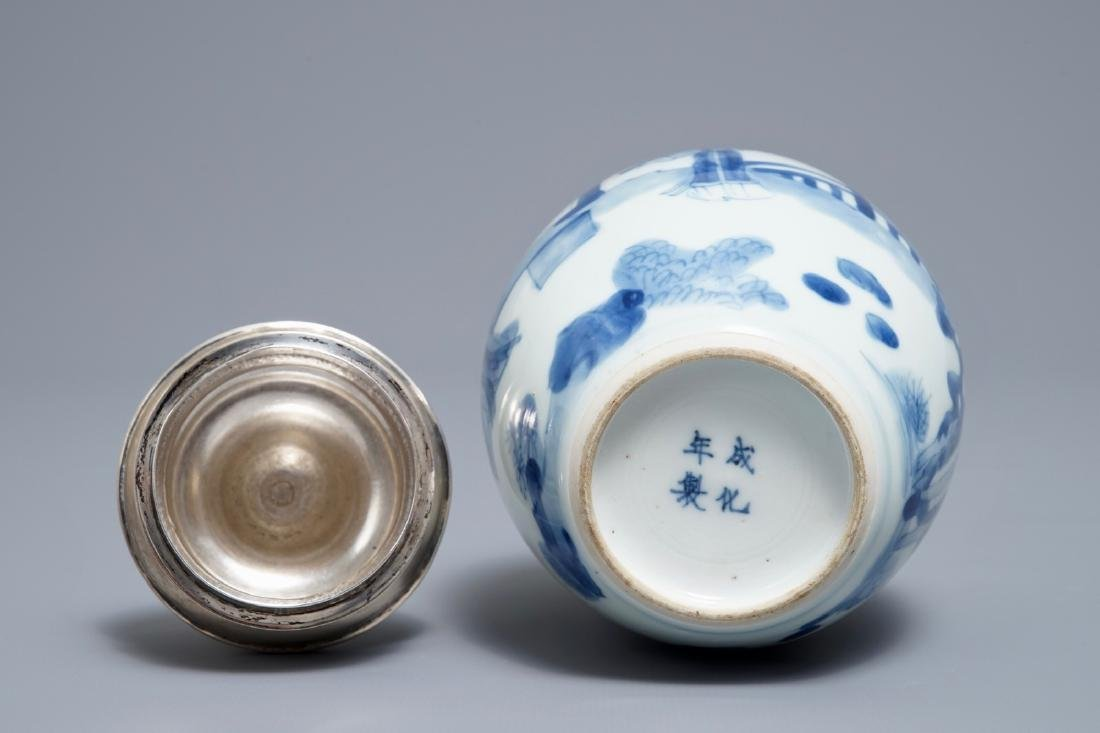 A Chinese blue and white silver-mounted tea caddy, - 6