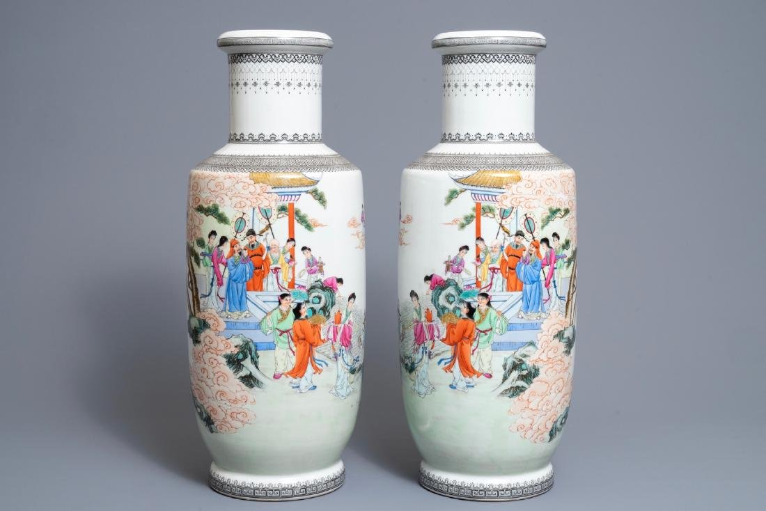 A pair of fine Chinese famille rose rouleau vases,