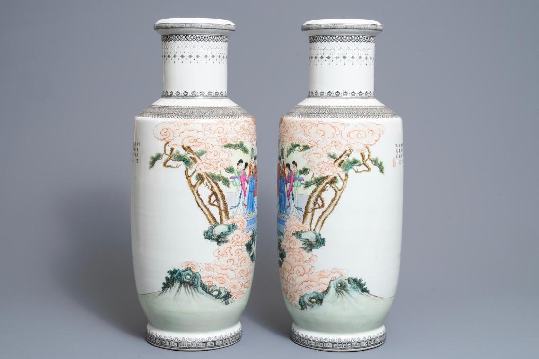 A pair of fine Chinese famille rose rouleau vases, - 2
