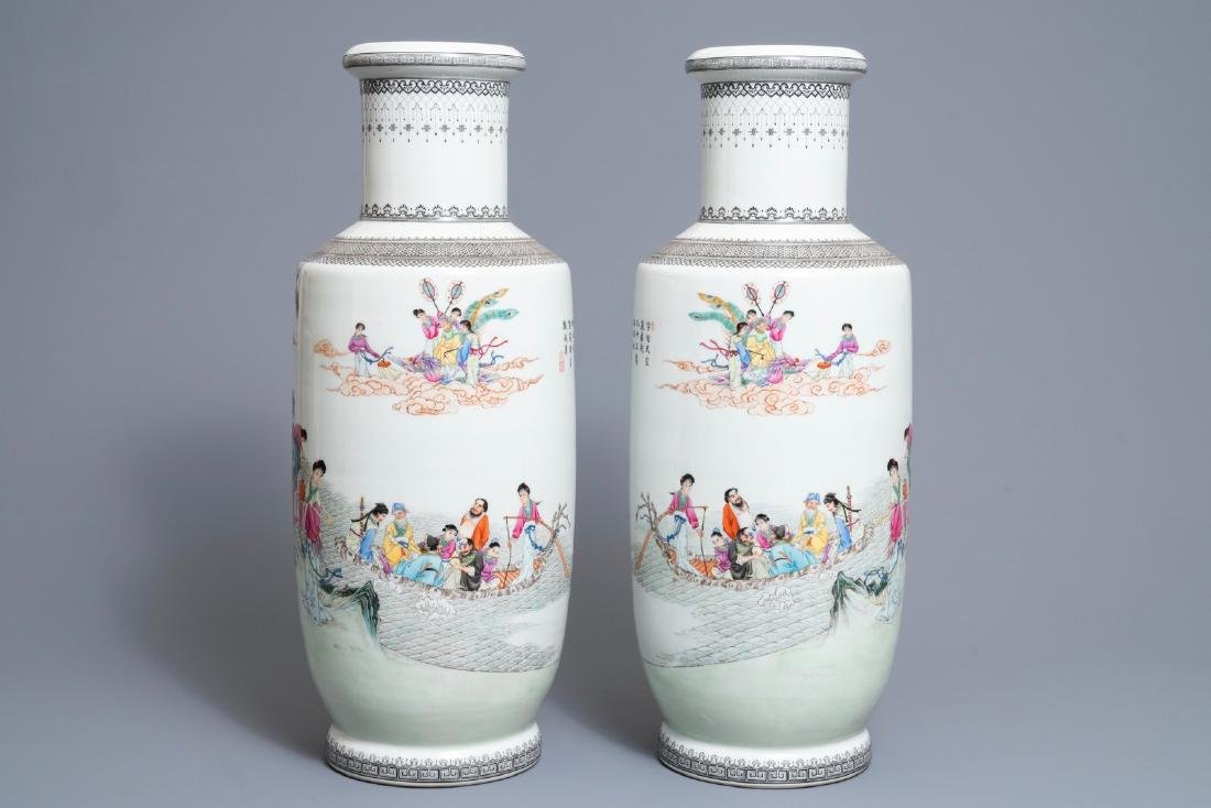 A pair of fine Chinese famille rose rouleau vases, - 4