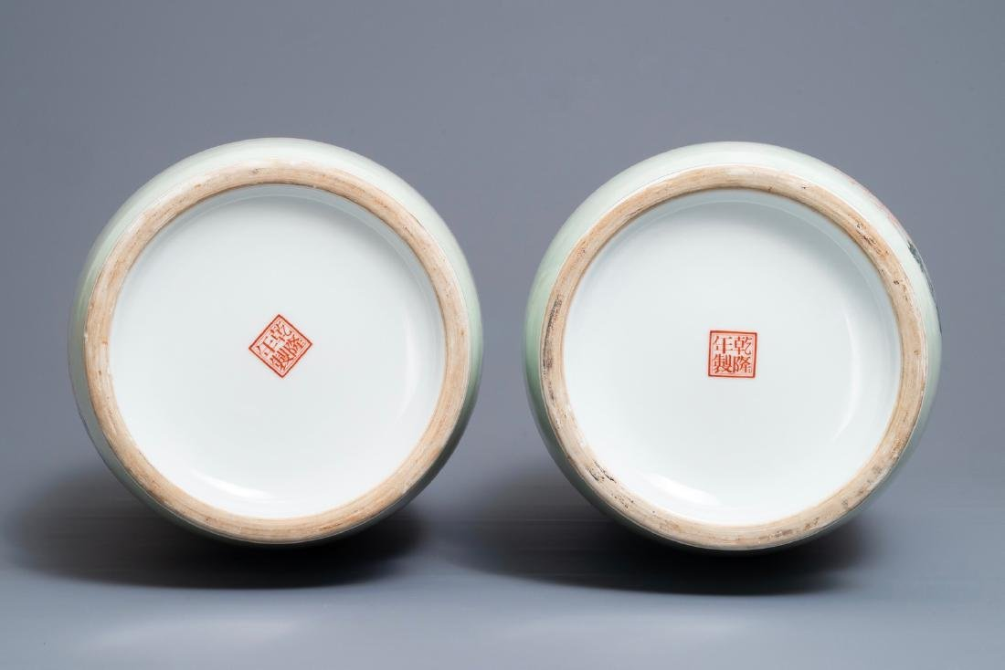 A pair of fine Chinese famille rose rouleau vases, - 5