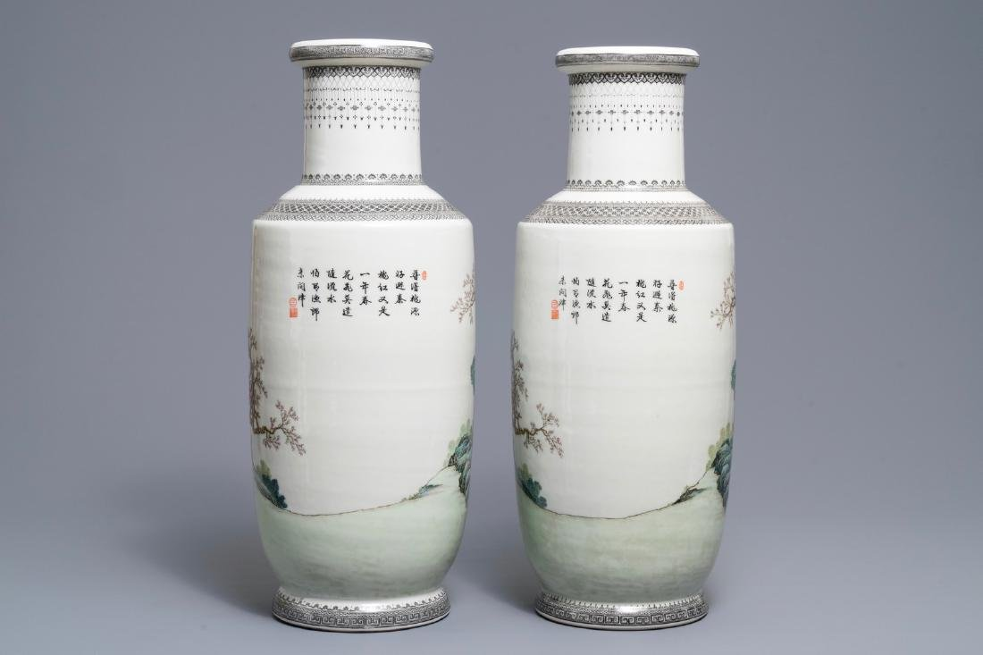 A pair of fine Chinese famille rose rouleau vases, - 3