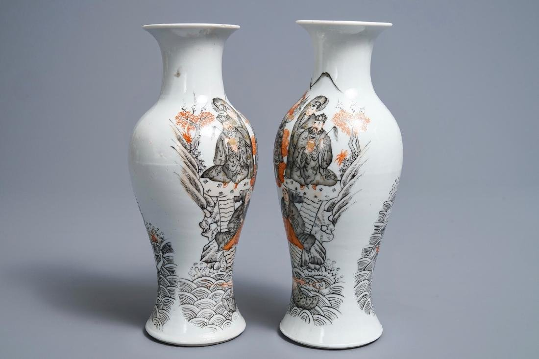 A pair of Chinese iron red, grisaille and gilt vases, - 4