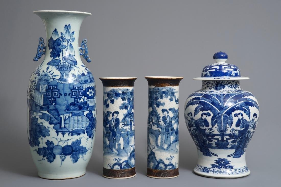 Four Chinese blue and white vases, 19th C.