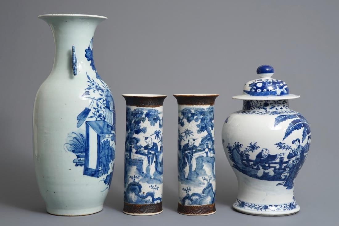 Four Chinese blue and white vases, 19th C. - 2